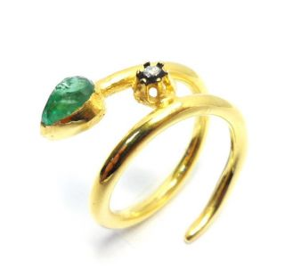Diamond & Colombian Emerald Gold Plated Vintage Look Jewelry Snake Ring Size 7 photo