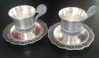A Vintage Solid Russian Melchior Metal Filigree Decorated Cup And Saucer photo