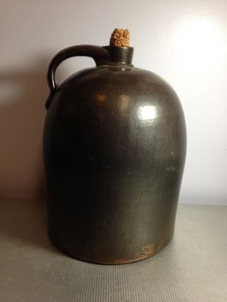 Brown Glazed Stoneware Jug With Applied Handle No Markings photo