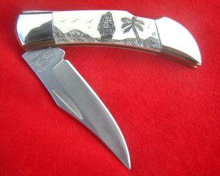 Scrimshaw Ship,  Islands,  Palm Tree,  Frost Cutlery Lockback,  Folding Knife/knives photo