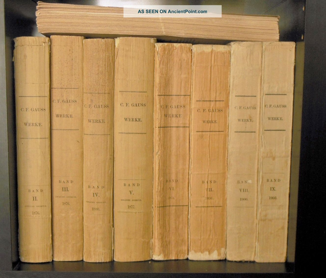Carl Friedrich Gauss - 9 Volume Set - Werke / Works Gottingen,  Germany 1870 - 1906 European photo