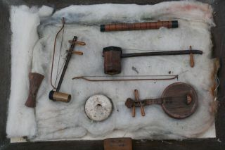 & Orig.  19thc Japanese Miniature Musical Instruments In Glass Case C1880s photo