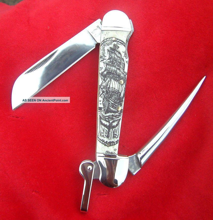 Scrimshaw By Shar,  Tall Ship,  Whale,  Marlin Spike,  Folding Knife/knives Scrimshaws photo