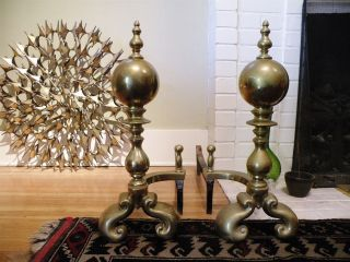 "Antique 22"" Large Brass Ball Traditional Andirons Fire Dogs W Log Holders photo"