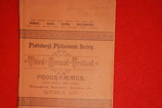 Rare Plattsburgh Philharmonic Society Festival Programmes 1887 Plus 2 Adv photo