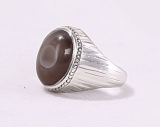 1930 Antique Handmade Sterling Silver Ring With Grey Onyx Stone (size 11) photo