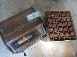 Antique 1908 Autophone Roller Organ With 27 Cylinders,  Ithaca photo