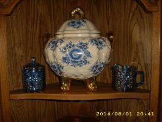 Antique Gorgeous Rare Asian Porcelain Footed Lidded Urn/cookie Jar photo