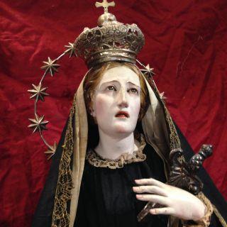 Addolorata Mary Madonna Legno Argento Dolosa Ex Voto Vintage Santon Santi Campan photo