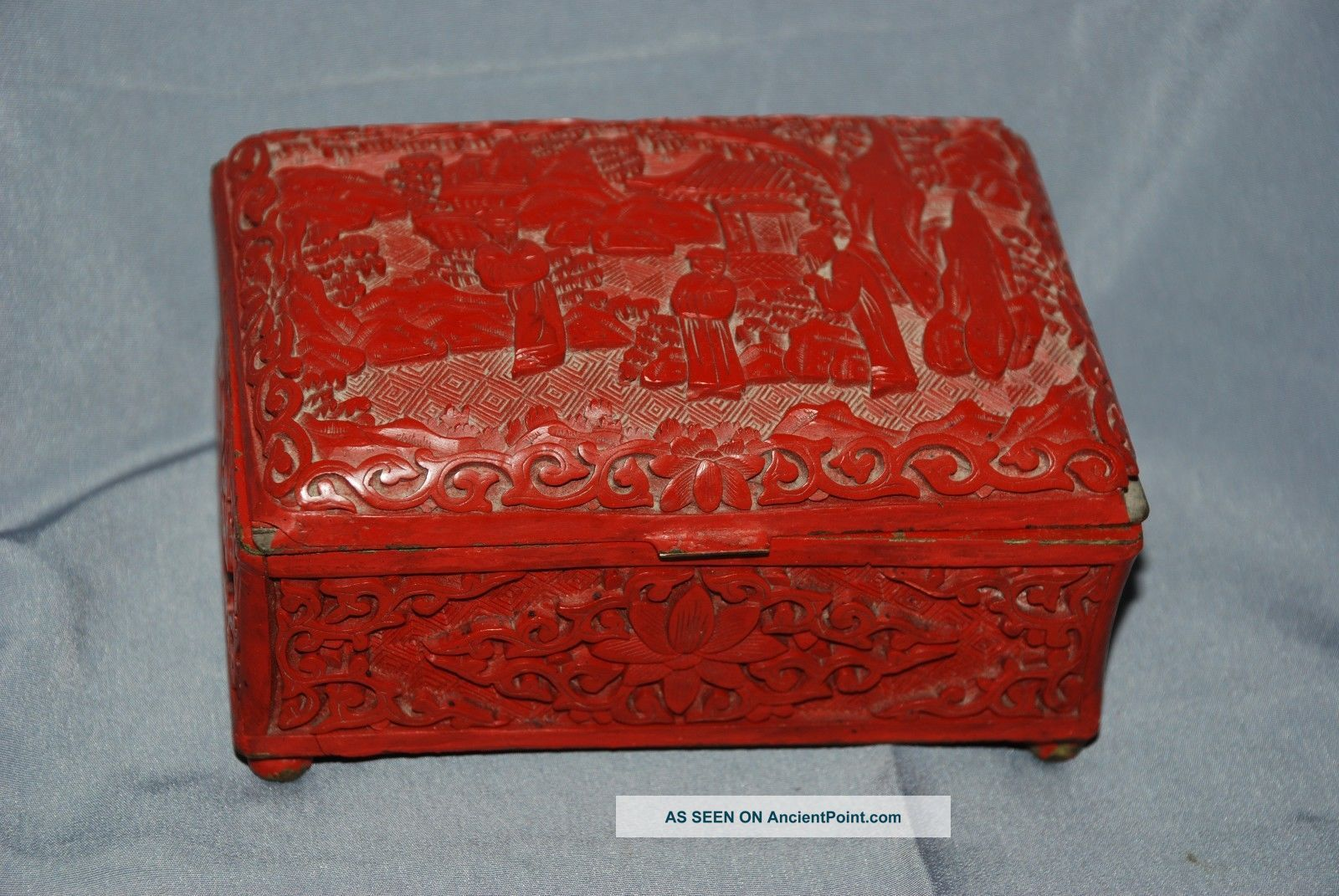 Old Antique Estate Carved Chinese Export Cinnabar Red Lacquer Hinged Box 99 Nr Boxes photo