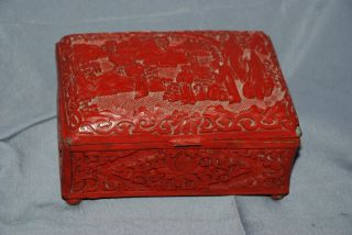 Old Antique Estate Carved Chinese Export Cinnabar Red Lacquer Hinged Box 99 Nr photo