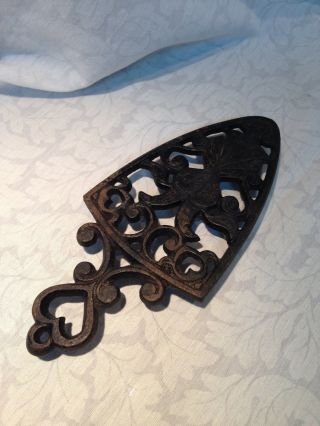 Antique Cast Iron Trivet Ornat With Hearts & Double Headed Peacock 8 1/4 Inches photo
