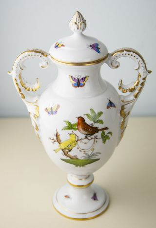 Herend Rothschild Bird Porcelain Big Urn Vase With Handles,  Mint photo