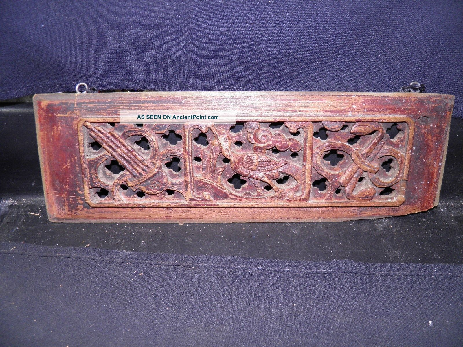 Old Chinese Carved Wood Opium Den Bed Panel Architectural Window