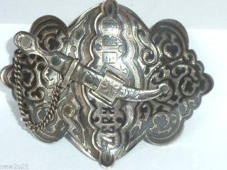 Antique Russian Niello Solid Silver Belt Buckle Caucasus Kabka3 photo