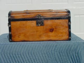 Small Size Antique Trunk Professional Restoration Very Old photo