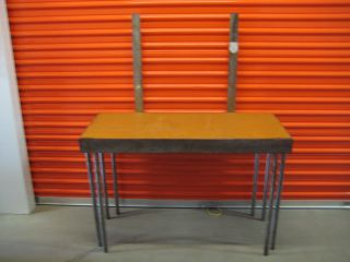 Modern Industrial Steel Desk With Mirror Mounts photo