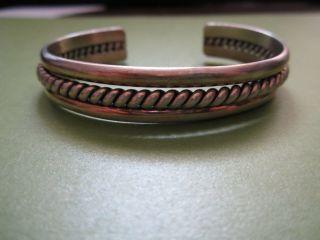 . 925 Sterling Silver Vintage Bangle Bracelet St Heavy Navajo Twisted Cuff 29.  8 G photo