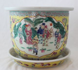 Antique Chinese Famille Rose Imperial Yellow Planter Vase photo