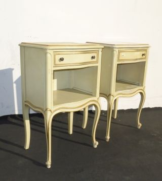 Vintage French Provincial Single Drawer Yellow Nightstands By Drexel photo