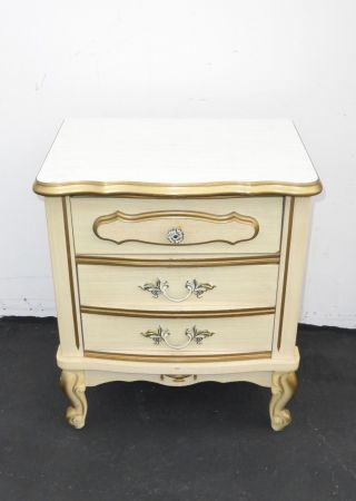 Vintage French Provincial Off White & Gold Gilt Nightstand W Brass Hardware photo