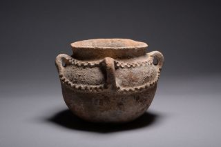 Ancient Near East Bronze Age Terracotta Pottery Vessel - 2500 Bc photo