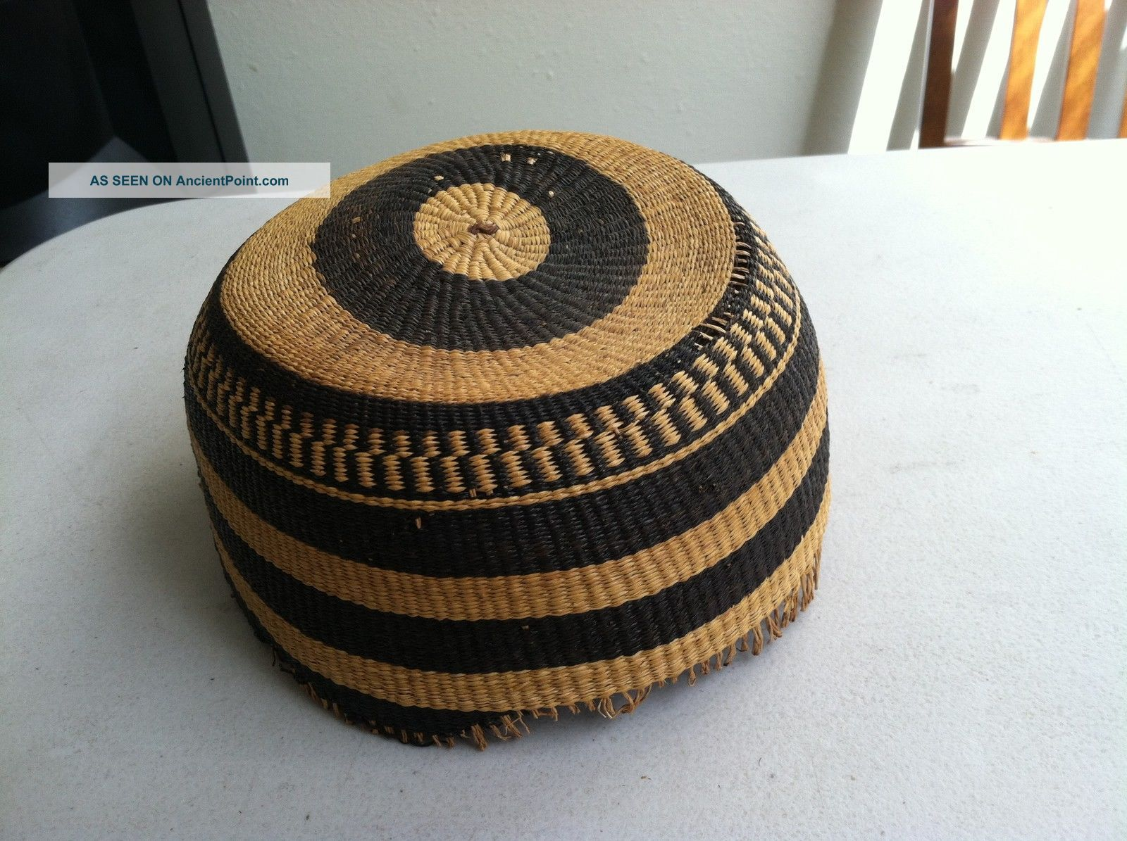 Antique Native American Indian H/made Hat Basket Very Tight Artwork Native American photo
