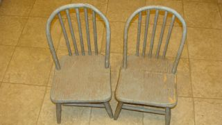 Aafa Old Child ' S Matching Bow Back Chairs Chippy Paint/primitive photo