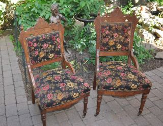 2 Antique Victorian Walnut Eastlake Parlour Side Chairs C1880 - Excellent Cond. photo