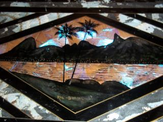 Vint Art Deco Inlaid Wood Tray Palm Trees Blue Morpho Butterfly Wing Pattern photo
