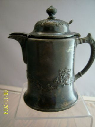 Antique Pairpoint Syrup Pitcher No.  1727 Hinged Lid Quadruple Plate Exc.  Cond. photo