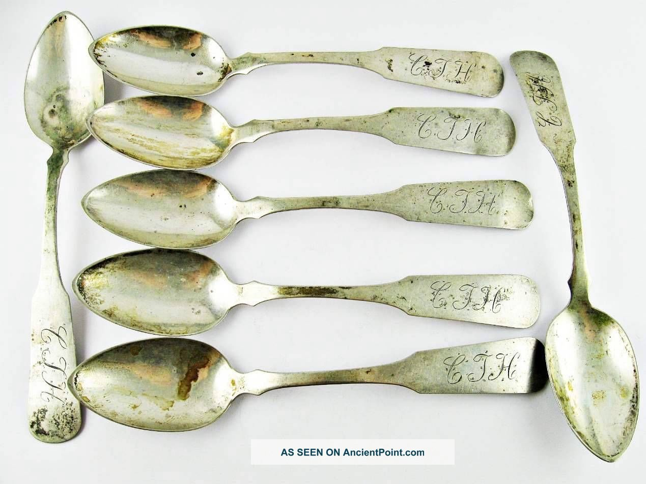 Set Of 7 Antique Coin Silver Spoons 5 & 3/4