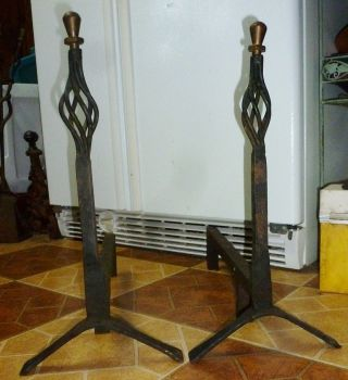 Mid - Century Modern Wrought Iron Andirons 19 1/4 Inches Tall 20 In Deep photo