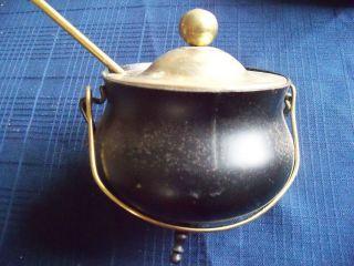 Black Metal Footed Cauldron Brass Lid 9 1/2