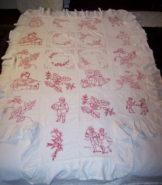 Vintage Embroidered Baby Carriage Cover Or Bedspread photo