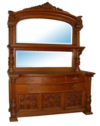 Monumental 19th C.  American Quartersawn Oak Sideboard 5759 photo