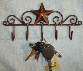 Rustic Early American Country Barn Star Key Hanger Holder Aged Copper 5 Hooks photo