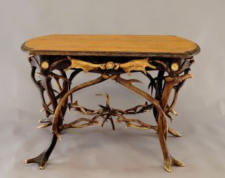 Antique Elaborately Crafted Antler Desk / Table Black Forest Ca.  1890 photo