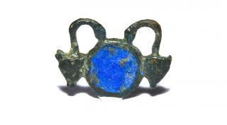 Rare Scarce Ancient Roman Bronze Enamelled Brooch With Two Serpents 2nd - 3rd C Ad photo