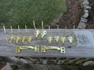 Of 10 Vintage Brass Plated Coat Hat Rack Hooks Repurpose Upcycle photo
