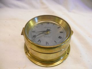 Stunning Observer Brass Ships Bulkhead Vintage 12cm Mechanical Clock photo