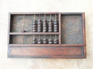 Antique - Old Carved Rosewood Counting Abacus - But Needs Attn - C1880s photo