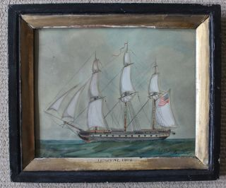 Very Rare Period Painting Of The Uss President/1809/sister Ship Of Constitution photo