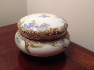 Antique Vintage Nippon Hand Painted Lidded Powder Box Jar Porcelain Dresser Bath photo