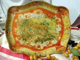 French Country Hand Painted Country House Floral Edge Paper Mache Tole Tray photo