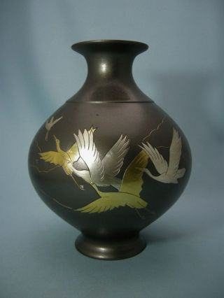 Old Japanese Bronze Vase Crane photo