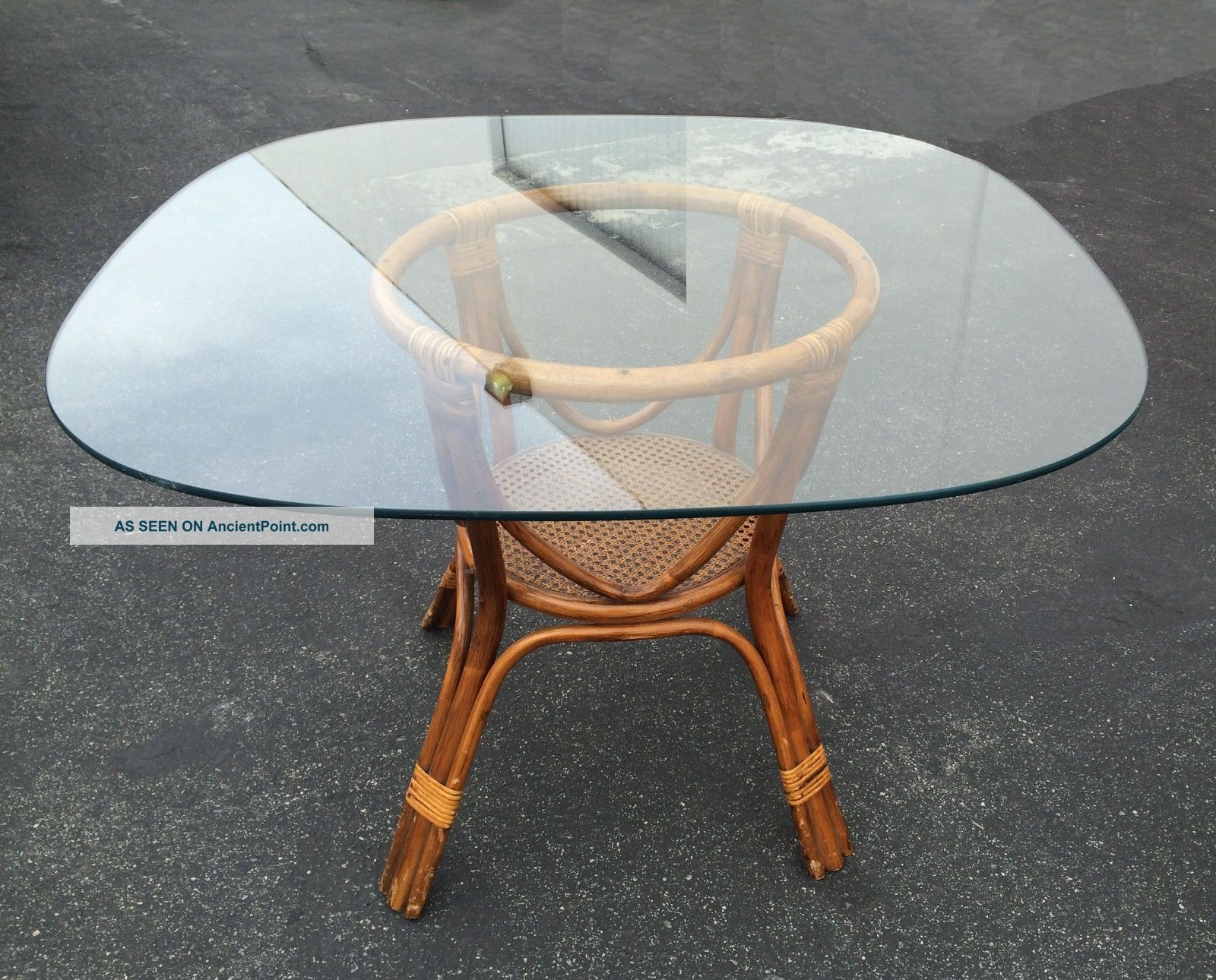 Picture of: Vintage Bamboo Dining Table Rattan Wicker Base W Square Glass Top W Cane