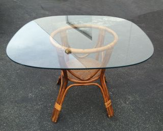 Vintage Bamboo Dining Table Rattan & Wicker Base W/ Square Glass Top W Cane. photo