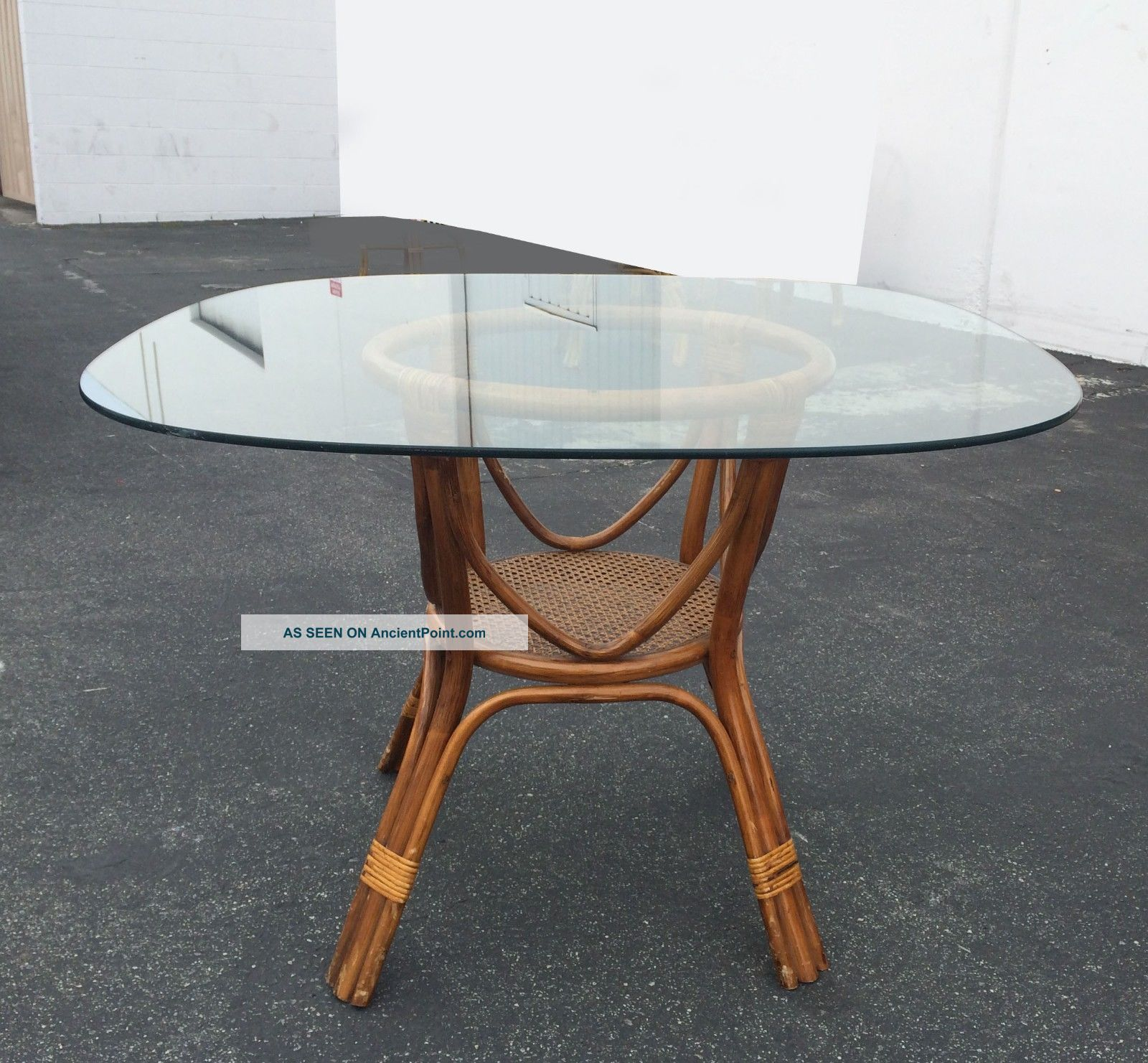 Vintage Bamboo Dining Table Rattan U0026 Wicker Base W/ Square Glass Top W Cane.