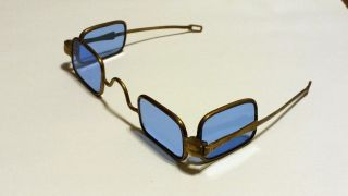Antique 1800 ' S Blue 4 Lens Eye Sun Glasses Spectacles Victorian Steampunk Rare photo